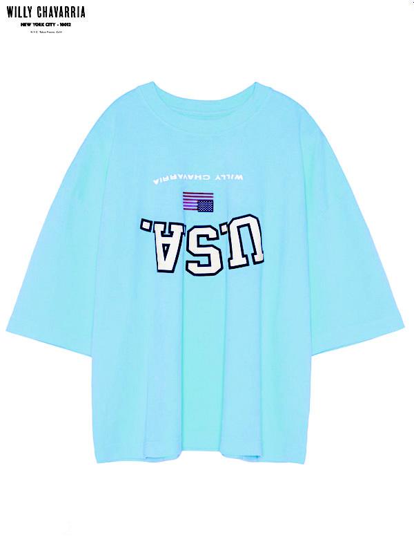 画像1: 【WILLY CHAVARRIA - ウィリーキャバリア】UPSIDE DOWN USA BUFFALO T / SUMMER BLUE(Tシャツ/サマーブルー) (1)