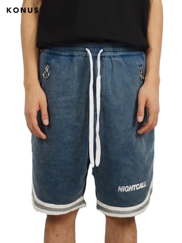 画像1: 【KONUS - コーナス】Acid Wash Knit Shorts / Blue (ショーツ/ブルー) (1)