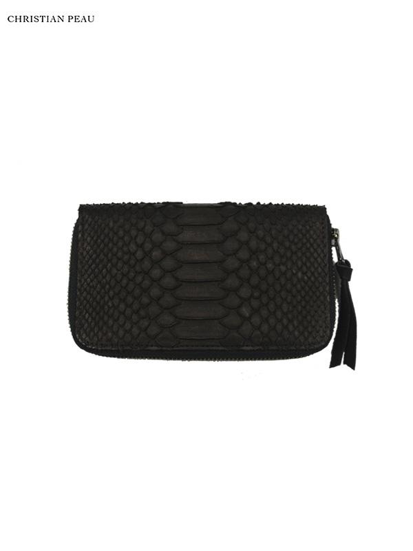 """画像1: 【Christian Peau - クリスチャンポー】B004 Wallet S """"Python Leather"""" / Black(ウォレット/ブラック) (1)"""