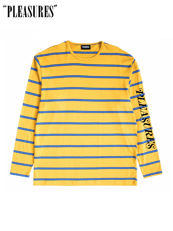 画像1: 20%OFF【PLEASURES】Scream Striped L/S / Mastered (L/S/マスタード) (1)