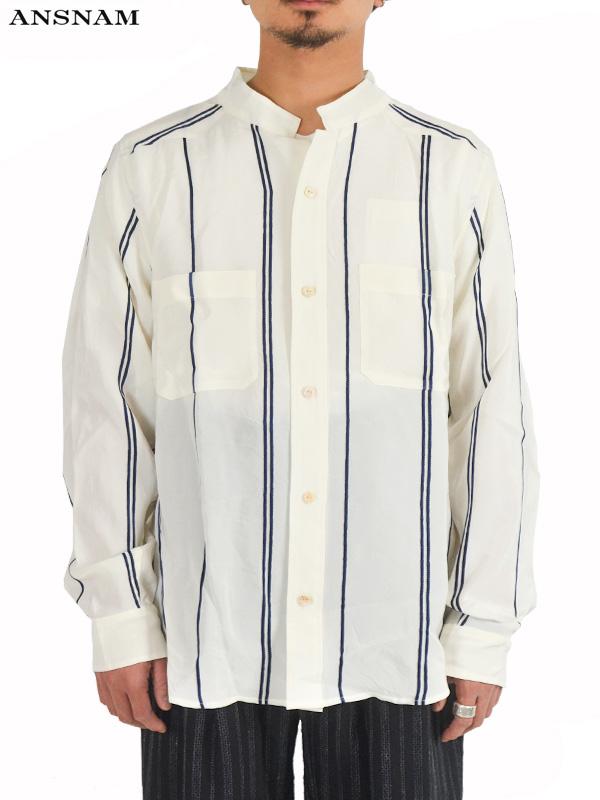 画像1: 【ANSNAM - アンスナム】Western Shirt / White×Blue(シャツ/ホワイト) (1)