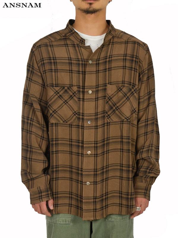画像1: 【ANSNAM - アンスナム】Western Shirt / Brown×Black(シャツ/ホワイト) (1)