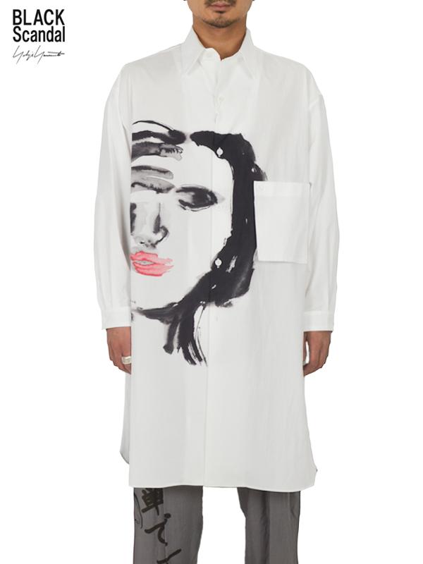 """画像1: 【B Yohji Yamamoto  - ビーヨウジヤマモト】+NOIR×Black scandal """"Face Print Shirt"""" / White(シャツ/ホワイト)  (1)"""