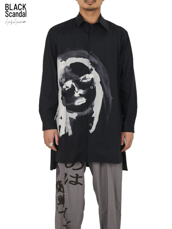 """画像1: 【B Yohji Yamamoto  - ビーヨウジヤマモト】+NOIR×Black scandal """"Face Print Shirt 3"""" / Black(シャツ/ブラック)  (1)"""