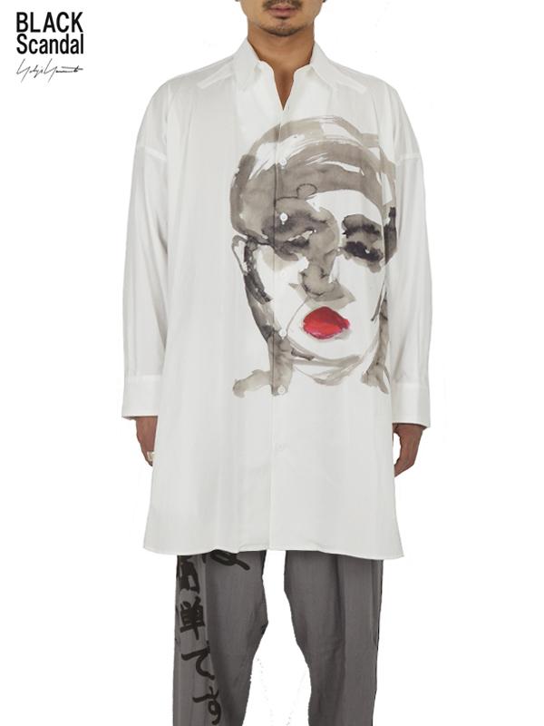 """画像1: 【B Yohji Yamamoto  - ビーヨウジヤマモト】+NOIR×Black scandal """"Face Print Shirt 2"""" / White(シャツ/ホワイト)  (1)"""
