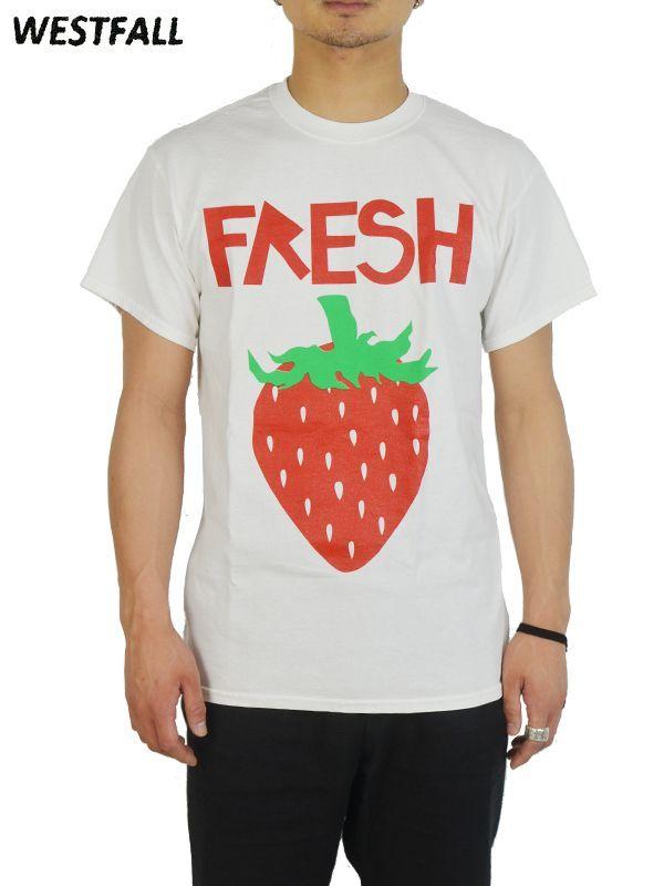 画像1: 50%OFF【WESTFALL - ウェストフォール】Fresh Strawberry S/S Tee / Plain White(Tシャツ/ホワイト)  (1)