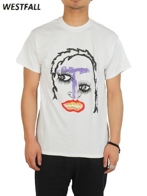 画像1: 【WESTFALL - ウェストフォール】Space oddity purple face S/S Tee / Plain White(Tシャツ/ホワイト)  (1)