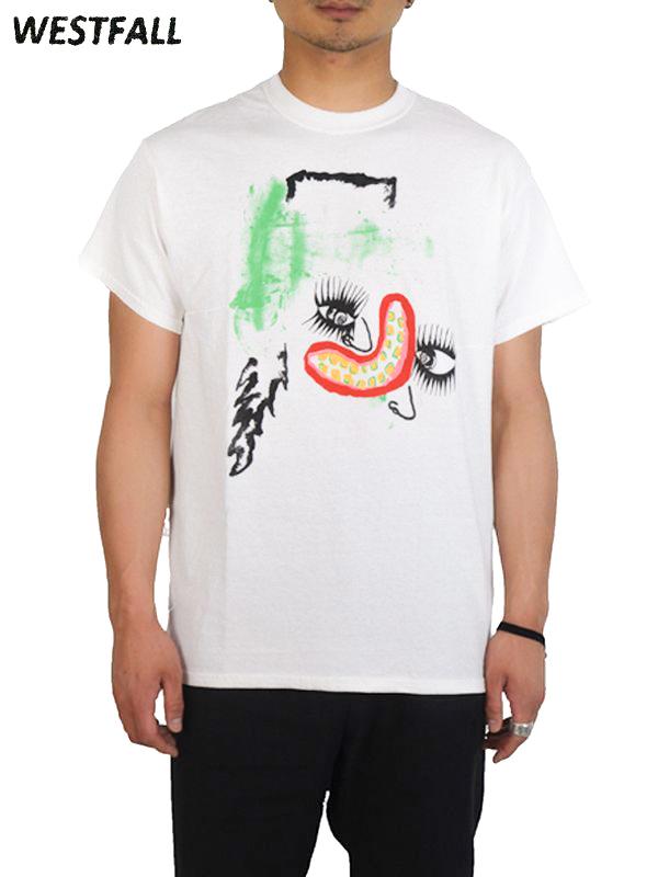画像1: 【WESTFALL - ウェストフォール】Space oddity green face S/S Tee / Plain White(Tシャツ/ホワイト)  (1)