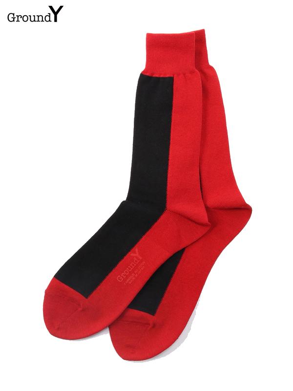 画像1: 【Ground Y  - グラウンドワイ】color socks/ Red(ソックス/レッド)  (1)