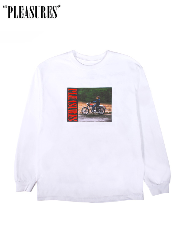 画像1: 【PLEASURES - プレジャーズ】PLEASURE × Bob Dylan / Ride Long Sleeve T-Shirt / White (Tシャツ/ホワイト) (1)