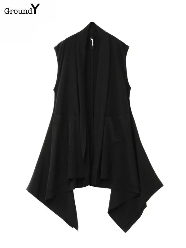 画像1: 【Ground Y  - グラウンドワイ】Modified drape vest / Black(ベスト/ブラック)  (1)