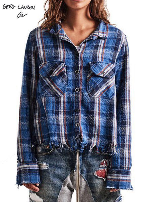 画像1: 【GREG LAUREN - グレッグローレン】Blue Plaid Christian Studio Shirt / Blue(スタジオシャツ/ブルー) (1)