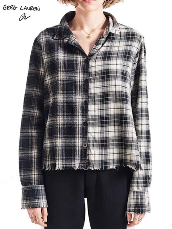 画像1: 【GREG LAUREN - グレッグローレン】Mixed Black Plaid Christian Studio Shirt / Black(スタジオシャツ/ブラック) (1)