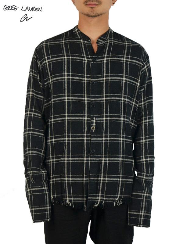 画像1: 【GREG LAUREN - グレッグローレン】Black Plaid Studio Shirt / Black(スタジオシャツ/レッド/ブラック) (1)