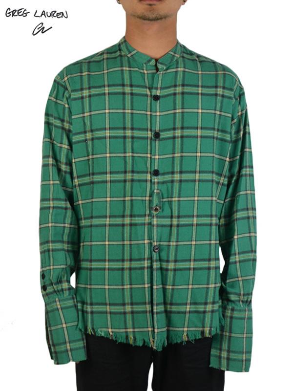 画像1: 【GREG LAUREN - グレッグローレン】Green Plaid Studio Shirt / Green(スタジオシャツ/レッド/グリーン) (1)