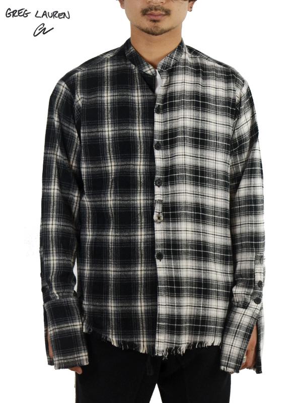 画像1: 50%OFF【GREG LAUREN - グレッグローレン】Mixed Black Plaid Studio Shirt / Black(スタジオシャツ/ブラック) (1)