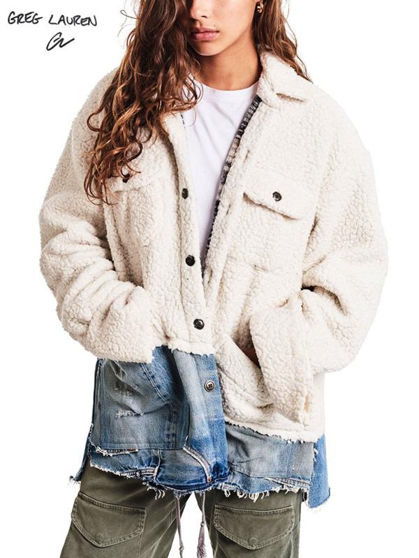 画像1: 【GREG LAUREN - グレッグローレン】50/50 Ivory Sherpa/Denim Studio Jacket / Ivory(スタジオシャツ/アイボリー) (1)