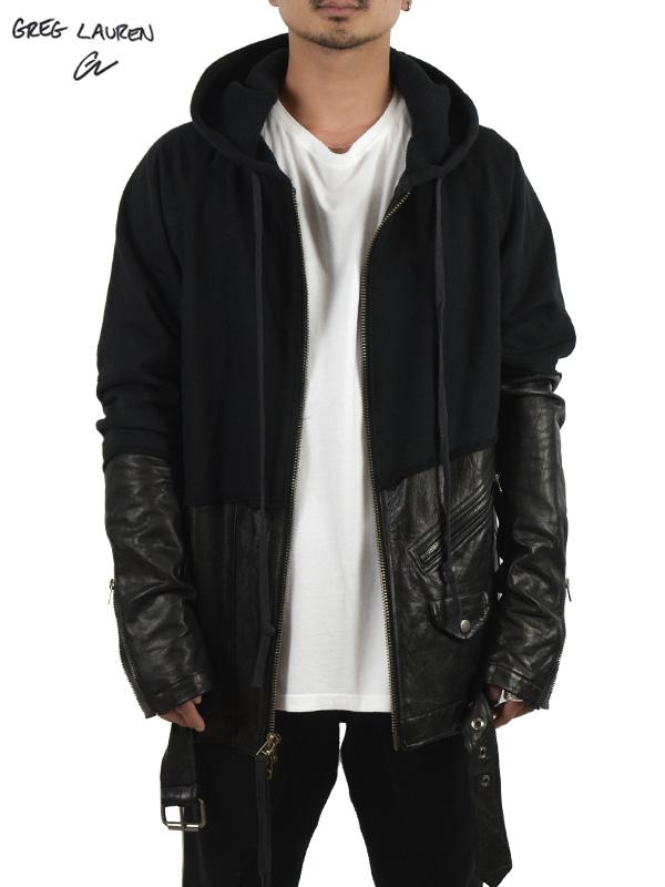 画像1: 【GREG LAUREN - グレッグローレン】50/50 Black Leather Zip Hoodie / Black (パーカー/ブラック) (1)