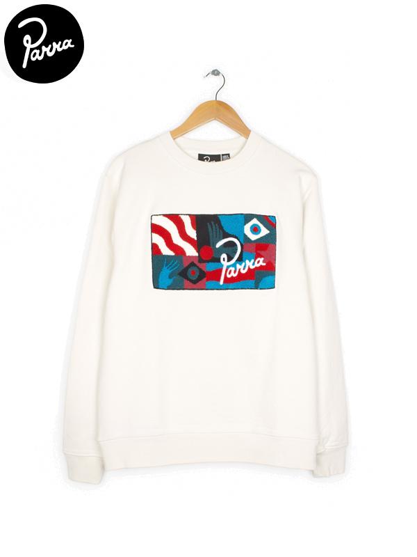 画像1: 【by Parra - バイ パラ】Grab the flag crew neck sweater/ White(スウェット/ホワイト)  (1)