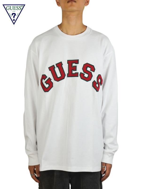 画像1: 【GUESS GREEN LABEL 】Patchwork Logo L/S Tee / White (Tシャツ/ホワイト) (1)