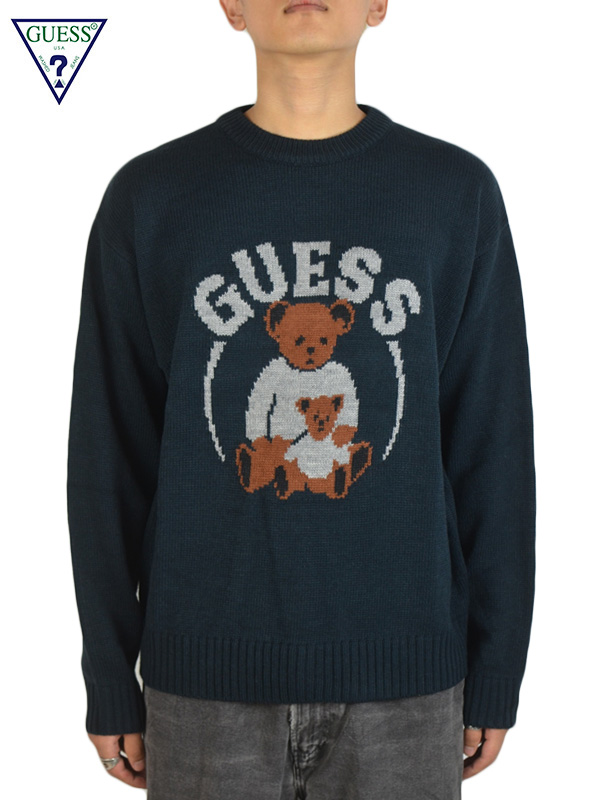 画像1: 【GUESS GREEN LABEL 】Guess Bear Knit / Navy (ニット/ネイビー) (1)