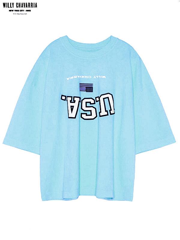 画像1: 20%OFF【WILLY CHAVARRIA - ウィリーキャバリア】UPSIDE DOWN USA BUFFALO T / SUMMER BLUE(Tシャツ/サマーブルー) (1)