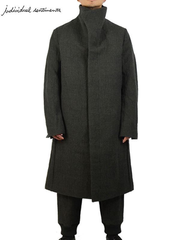 画像1: 【individual sentiments - インディヴィジュアル センチメンツ】Wool Stainless Tweed Hight Neck Coat / Khaki(コート/カーキ)  (1)