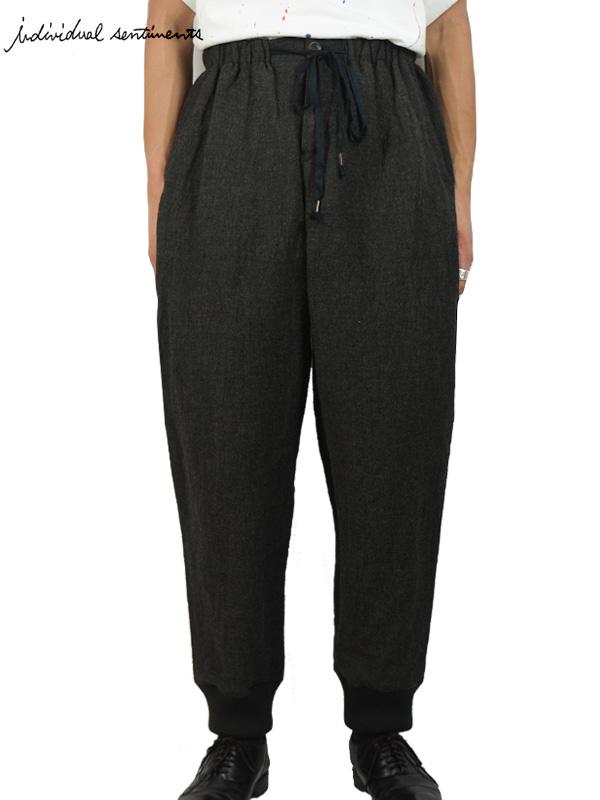 """画像1: 【individual sentiments - インディヴィジュアル センチメンツ】Wool Stainless Tweed Easy Pant """"Bespoke"""" / Khaki Black(トラウザー/カーキブラック) (1)"""