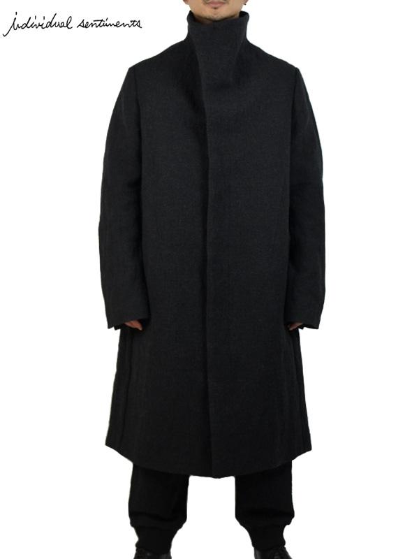 画像1: 【individual sentiments - インディヴィジュアル センチメンツ】Wool Stainless Tweed Hight Neck Coat / Black(コート/ブラック)  (1)