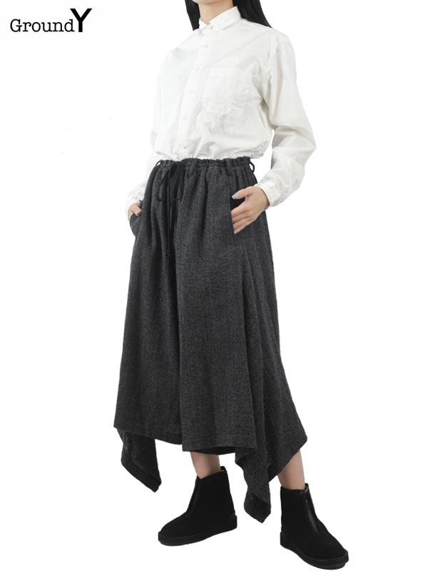 画像1: 【Ground Y  - グラウンドワイ】Side Drape Gaucho Pant / D.Grey(パンツ/ダークグレー)  (1)