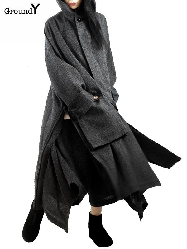 画像1: 【Ground Y  - グラウンドワイ】Side Zipper Hooded Coat/ D.Grey(コート/グレー)  (1)