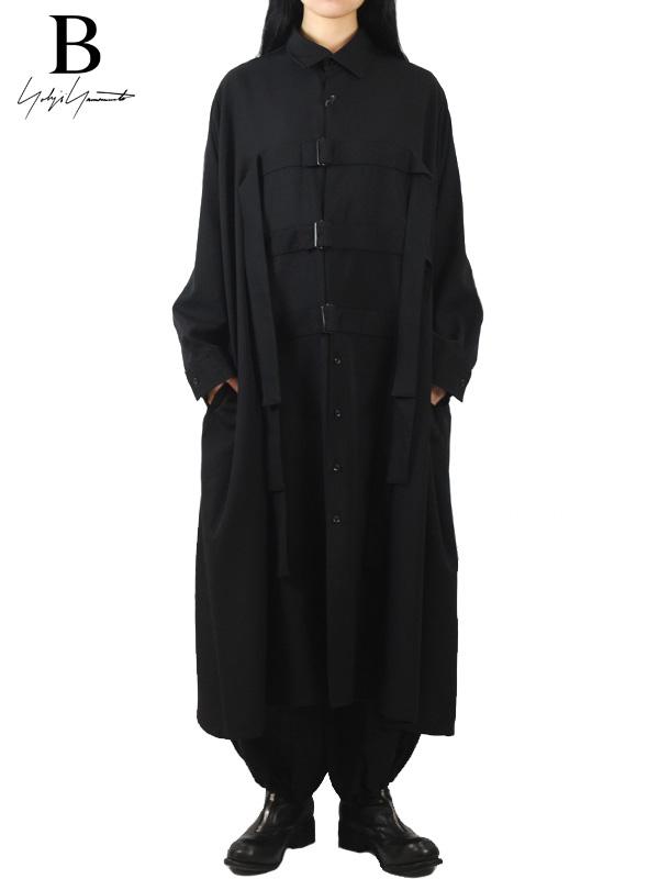画像1: 30%OFF【B Yohji Yamamoto  - ビーヨウジヤマモト】Wool Buckle Shirt / Black(シャツ/ブラック)  (1)