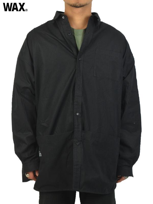 画像1: 【WAX - ワックス】Tool pocket shirts jacket / Black(シャツ/ブラック)  (1)