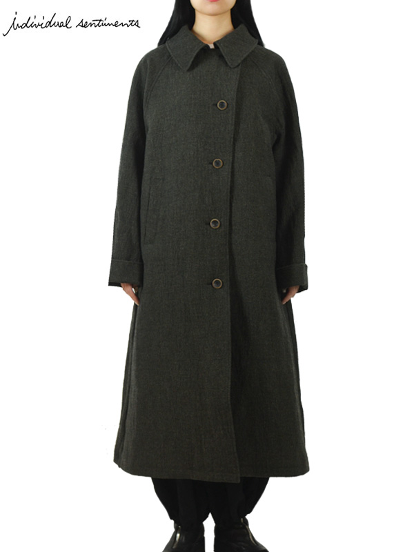 """画像1: 【individual sentiments - インディヴィジュアル センチメンツ】Wool Stainless Tweed Coat """"for women / Khaki Black(コート/カーキブラック) (1)"""