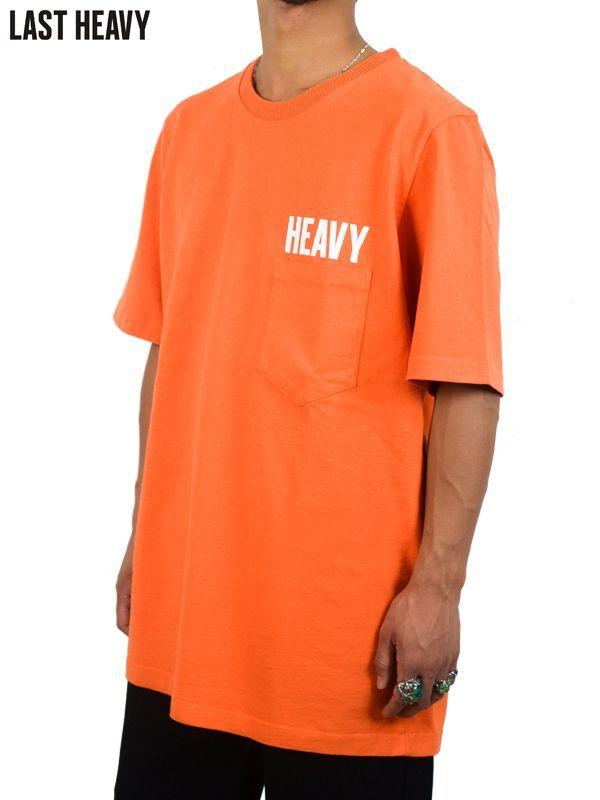 """画像1: 【LAST HEAVY - ラストヘビー】Pocket Tee """"HEAVY"""" / Safety Orange(Tシャツ/オレンジ) (1)"""