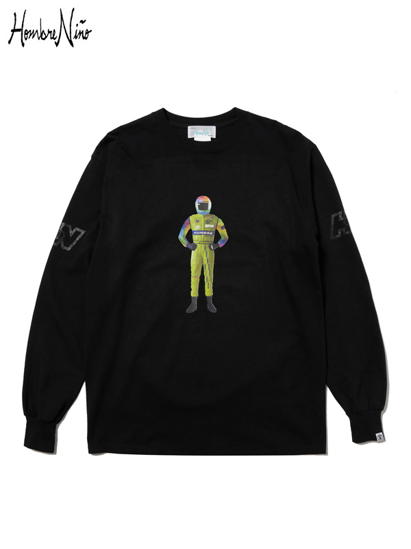 """画像1: 【Hombre Nino - オンブレニーニョ】L/S T-SHIRT """"RACER"""" / Black(Tシャツ/ブラック) (1)"""