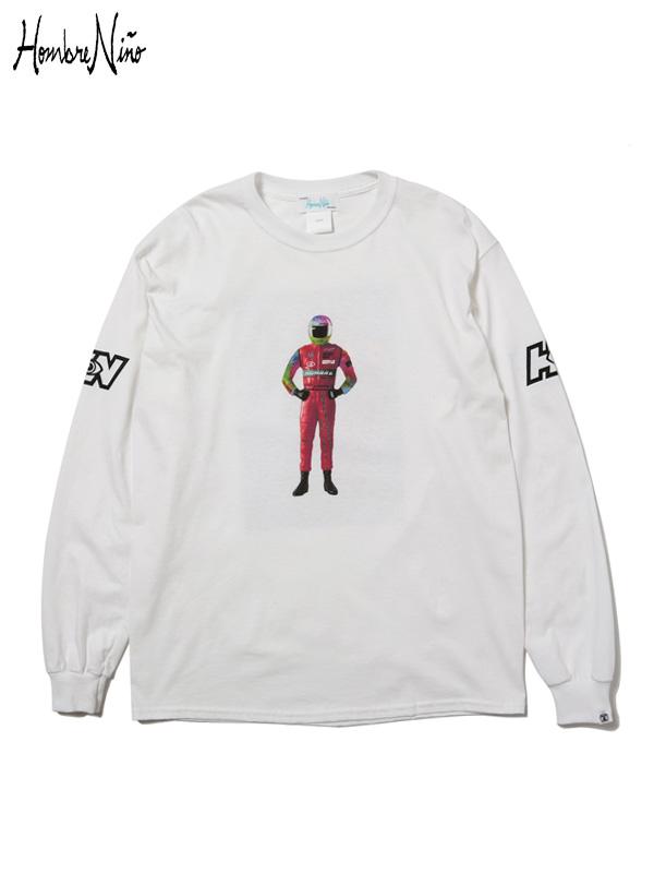 """画像1: 30%OFF【Hombre Nino - オンブレニーニョ】L/S T-SHIRT """"RACER"""" / White(Tシャツ/ホワイト) (1)"""