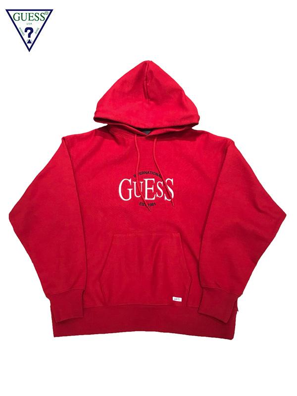 画像1: 【GUESS GREEN LABEL - ゲス グリーン レーベル】INT'I GUESS EMBROIDERY HOODIE / Red (フーディ/レッド) (1)