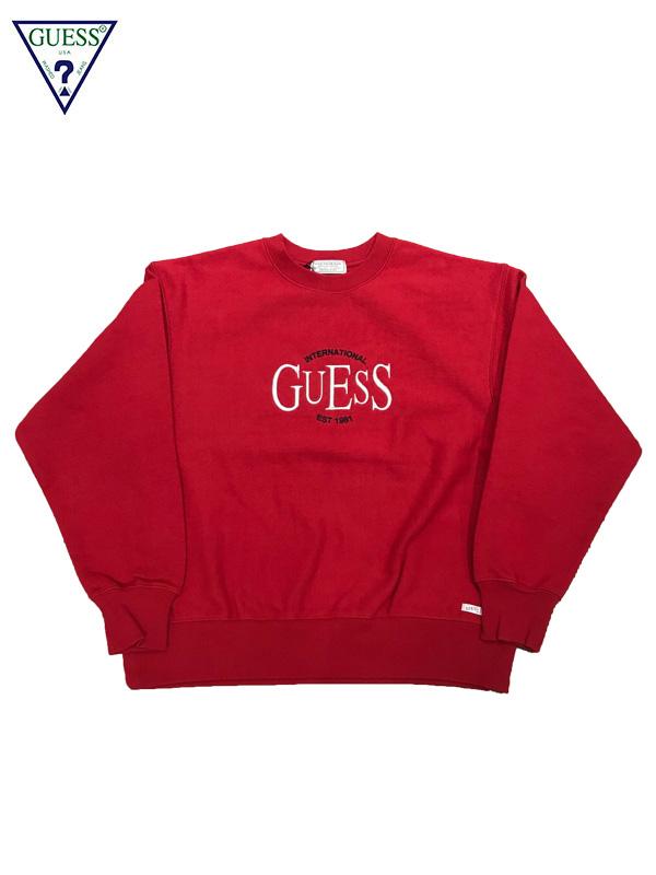 画像1: 【GUESS GREEN LABEL - ゲス グリーン レーベル】INT'I GUESS EMBROIDERY SWEATER / Red (スウェット/レッド) (1)