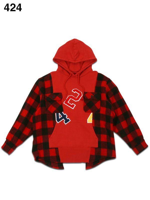 画像1: 【424 - フォートゥーフォー】Reworked Flannel Hoodie Workshirt / Red(フーディ/レッド)  (1)