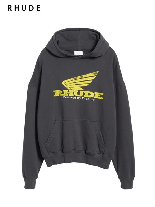 画像1: 【RHUDE - ルード】Yellow Rhonda Hoodie /Black(パーカー/ブラック) (1)