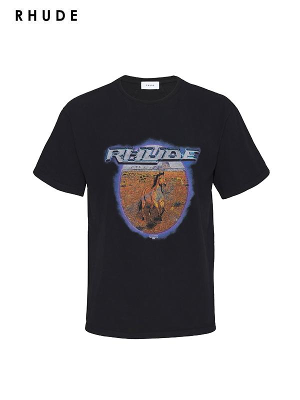 画像1: 【RHUDE - ルード】Horse Portrait Tee /Black(Tee/ブラック) (1)