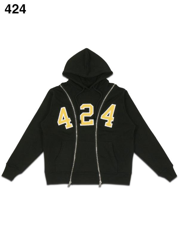 画像1: 【424 - フォートゥーフォー】Reworked 424 University Zipper Hoodie / Black(フーディ/ブラック)  (1)
