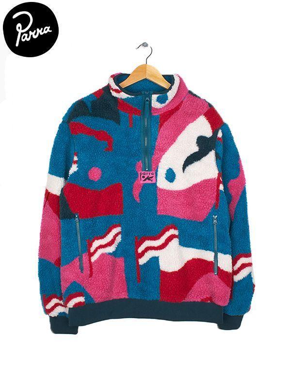画像1: 【by Parra - バイ パラ】sherpa fleece pullover flag mountain racer / multi(フリース/マルチ)  (1)
