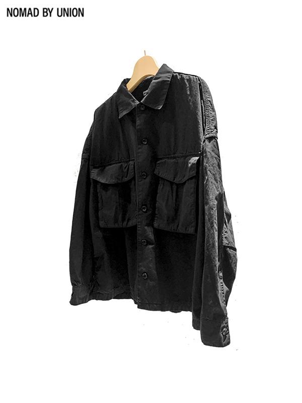 画像1: 【Nomad by UNION - ノバド バイ ユニオン】Typewriter shirt Jacket/ Black(シャツ/ブラック) (1)