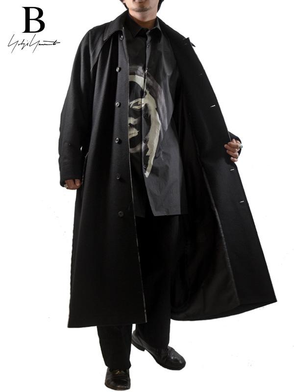 画像1: 【B Yohji Yamamoto  - ビーヨウジヤマモト】B/RAGLAN MELTON COAT / Black(コート/ブラック)  (1)
