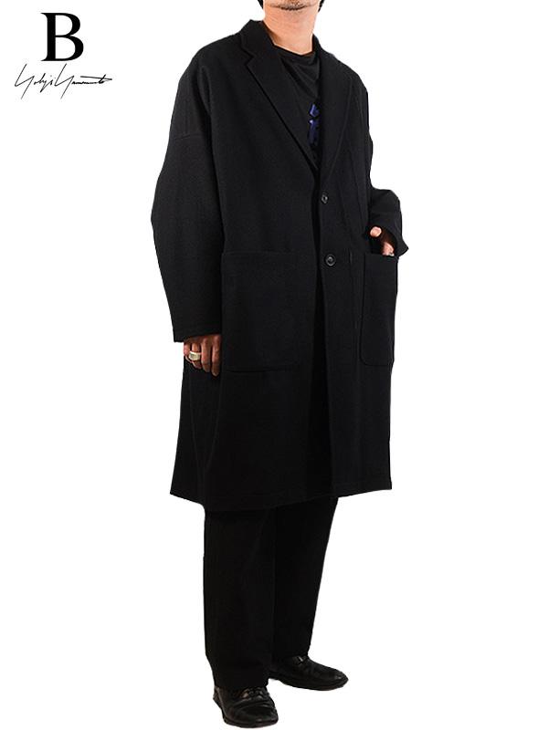 画像1: 【B Yohji Yamamoto  - ビーヨウジヤマモト】B/RIPPER MELTON COAT / Black(コート/ブラック)  (1)