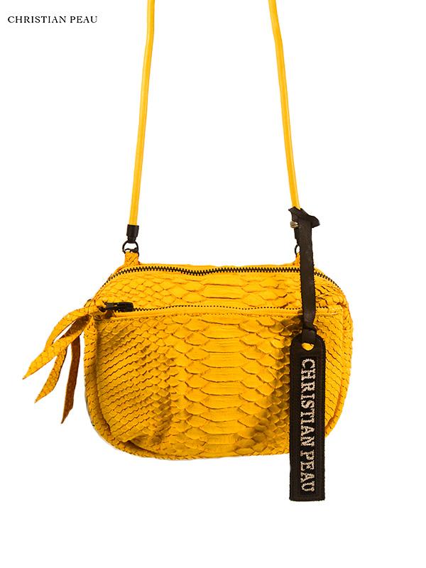 """画像1: 【Christian Peau - クリスチャンポー】KAME HAND POUCH  """"Python Leather"""" / Yellow(レザーバッグ/イエロー)  (1)"""