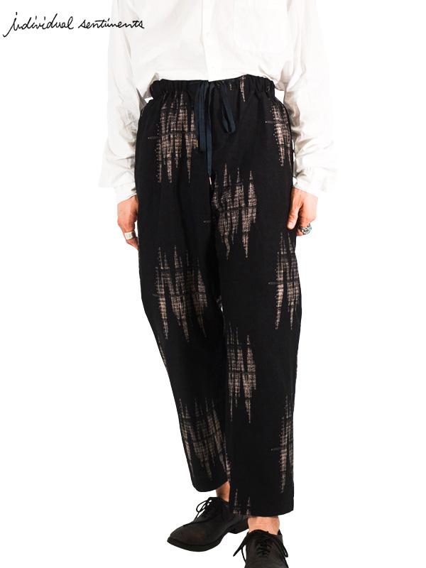 画像1: 30%OFF【individual sentiments - インディヴィジュアル センチメンツ】Original pattern Easy pants/ Black(パンツ/ブラック)  (1)