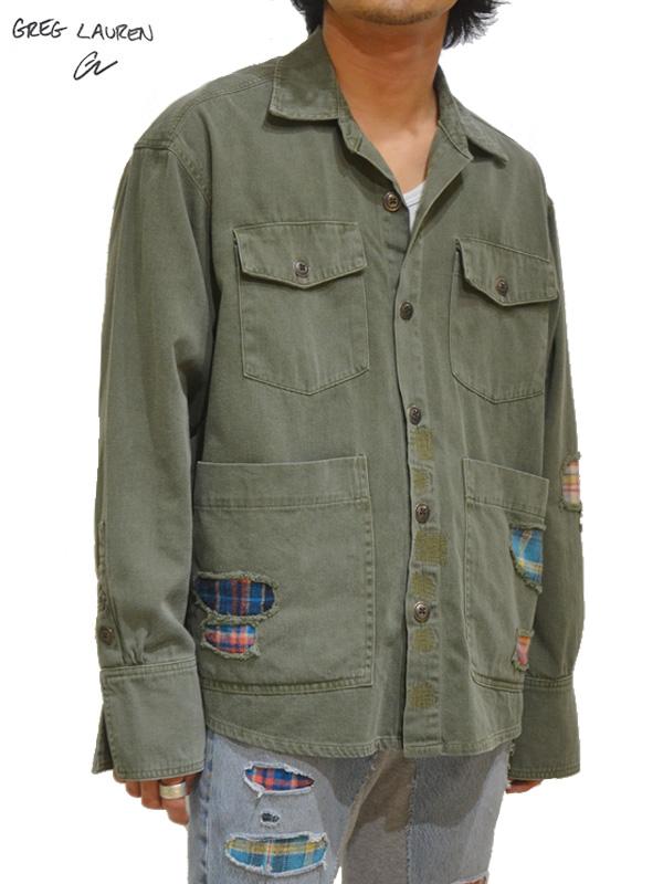 画像1: 30%OFF【GREG LAUREN - グレッグローレン】Boxy Studio Shirt / army Baker  (スタジオシャツ/アーミー) (1)
